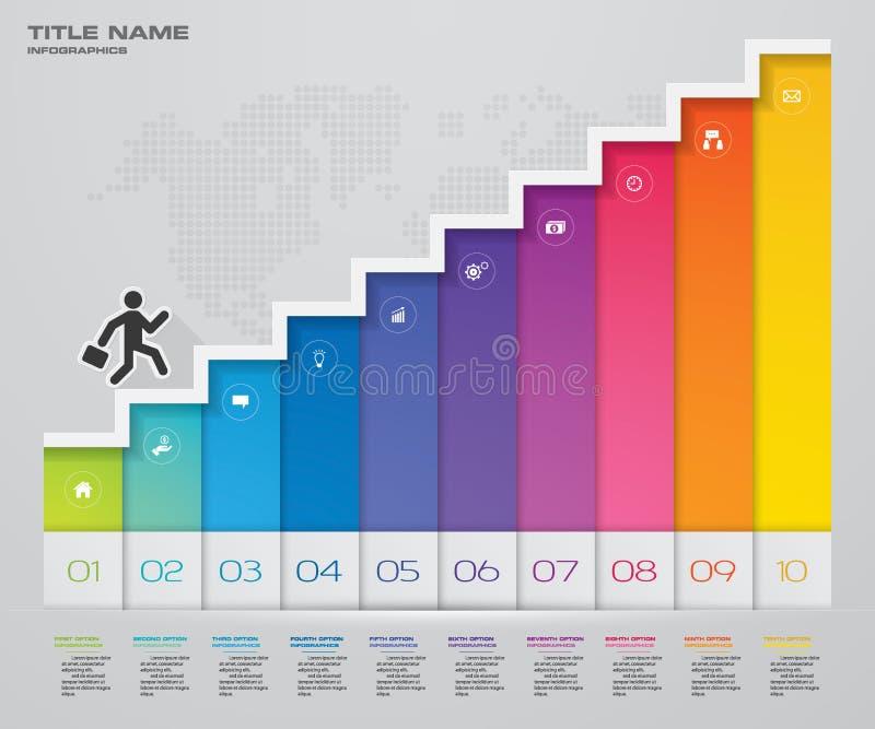 Elemento de Infographic de la escalera de 10 pasos para la presentación ilustración del vector