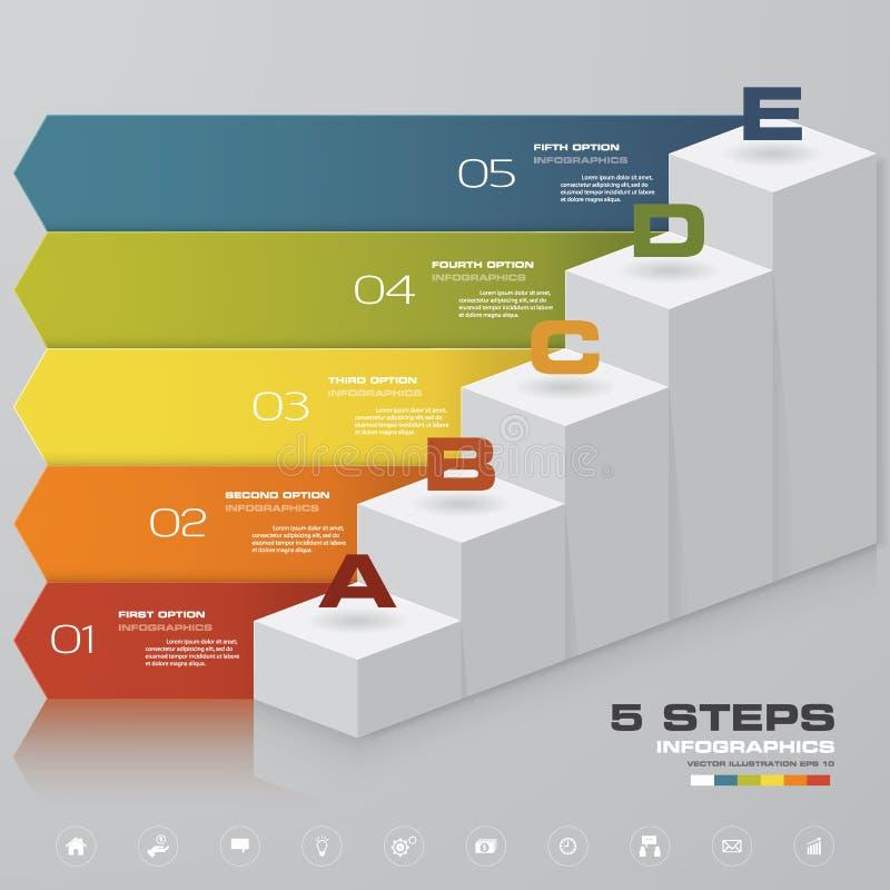 Elemento de Infographic de la escalera de 5 pasos para la presentación EPS 10 ilustración del vector