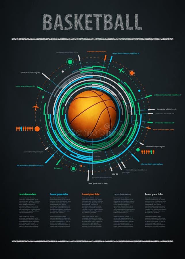 Elemento de Infographics com basquetebol dos esportes ilustração royalty free