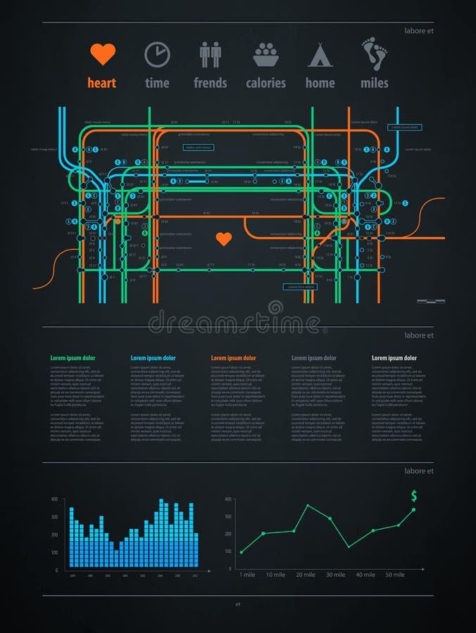 Elemento de Infographics com um mapa da cidade ilustração stock