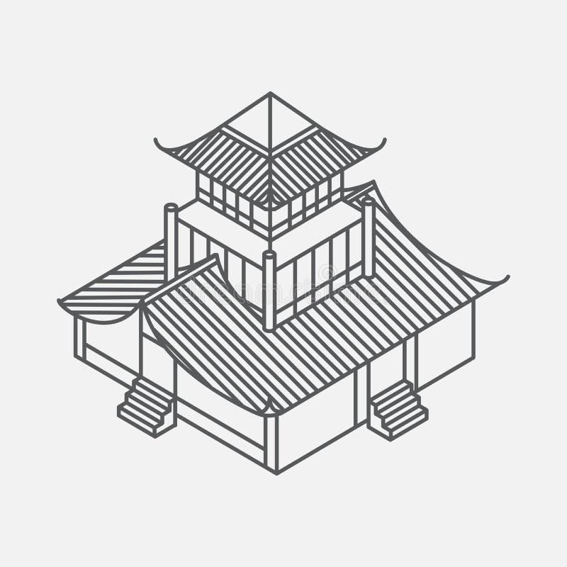 Elemento de la arquitectura en estilo oriental Casa isométrica de la pagoda del esquema Señal china y japonesa stock de ilustración