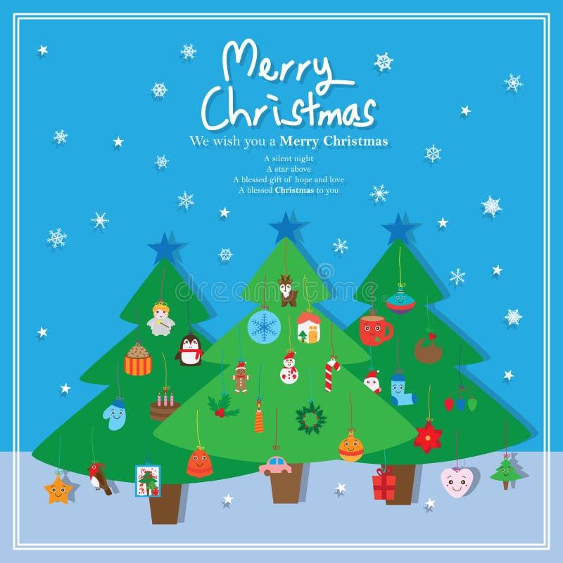 Elemento de la caída del árbol de pino de la Navidad stock de ilustración