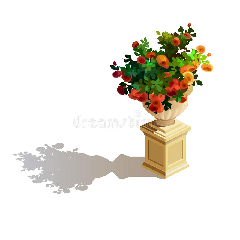 Elemento de la decoración Un arbusto de rosas florece en la maceta ilustración del vector
