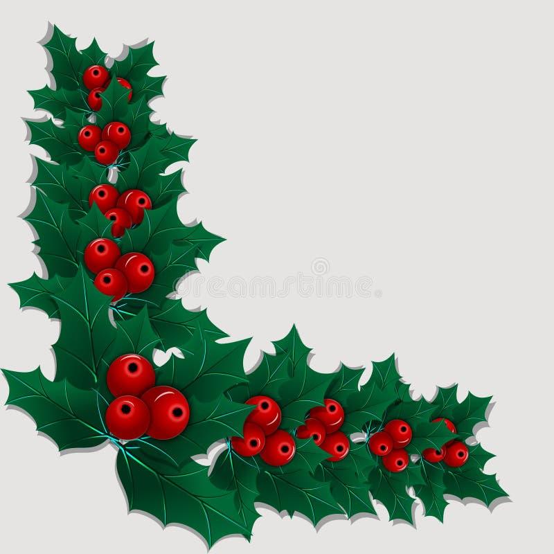 Elemento de la esquina decorativo de la Navidad con las hojas y las bayas del acebo stock de ilustración