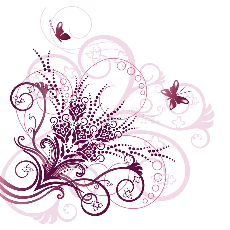 Elemento de la esquina floral rosado del diseño ilustración del vector