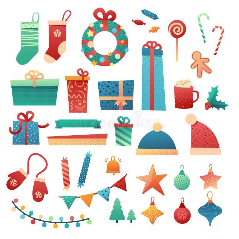 Elemento de la Feliz Navidad del diseño de sistema Ejemplo plano del Año Nuevo con la caja de regalo, la guirnalda, la guirnalda  stock de ilustración