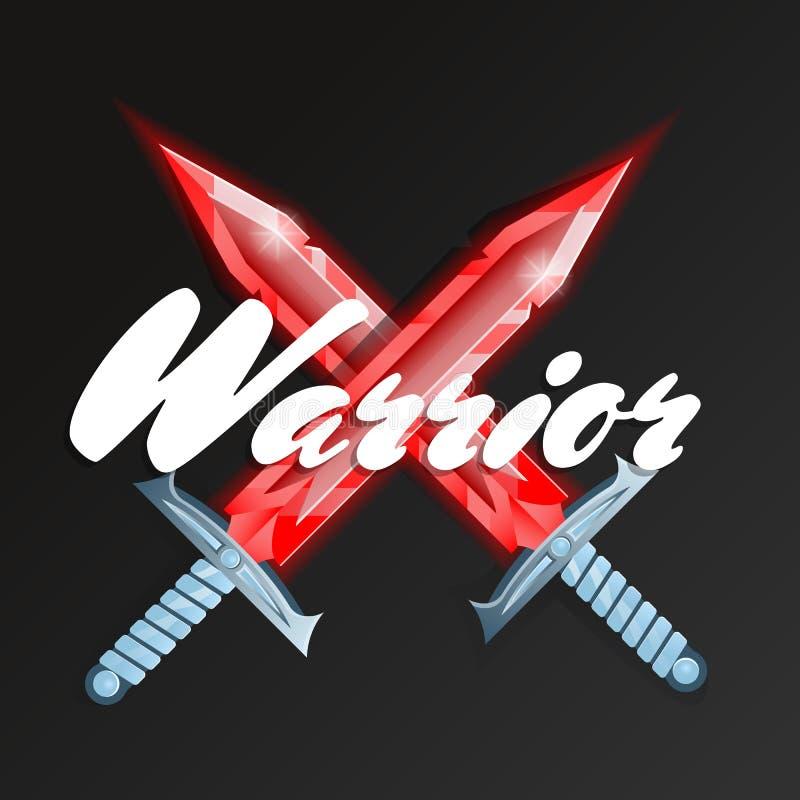 Elemento de la lucha del guerrero con las espadas cruzadas ilustración del vector
