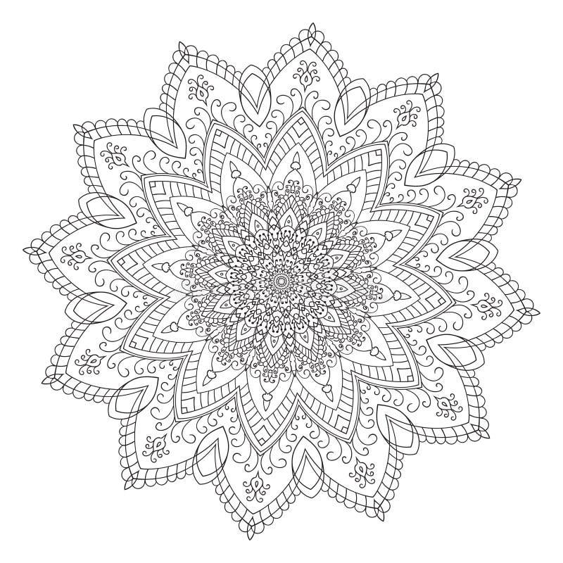Elemento de la mandala del zentangle del dibujo de la mano foto de archivo libre de regalías