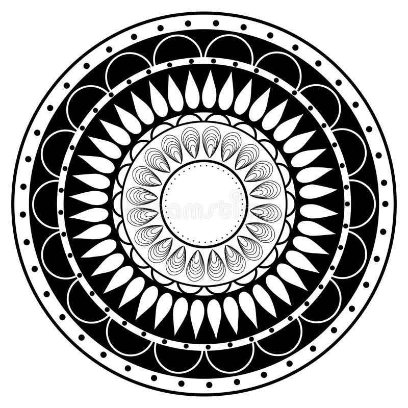 Elemento de la mandala del zentangle del dibujo de la mano en blanco y negro ilustración del vector