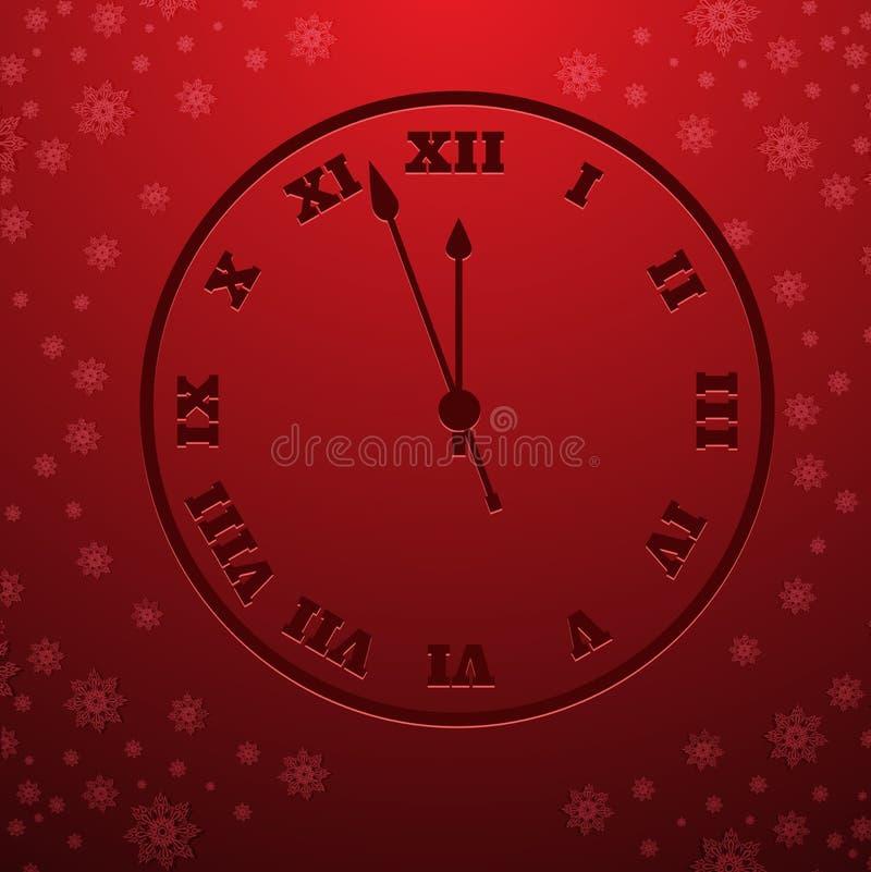Elemento de la nieve del diseño del reloj del vector Feliz Navidad eps10 ilustración del vector