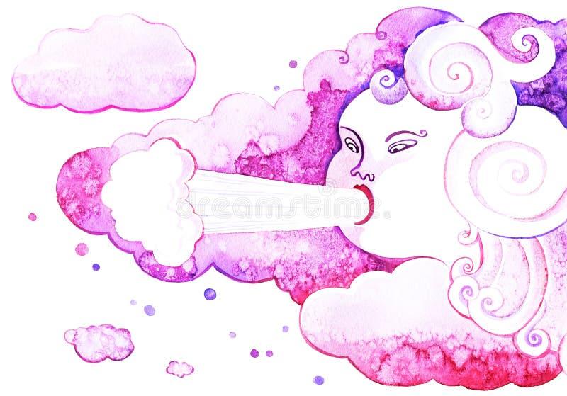 Elemento de la nube, las nubes del soplo de la cara del viento ilustración del vector