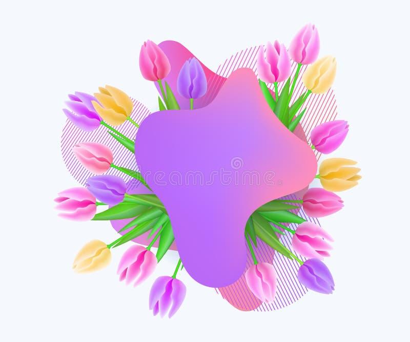 Elemento de la oferta de la promoción que la gota de la pintura con el ejemplo del vector de los tulipanes aisló stock de ilustración