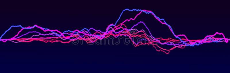 Elemento de la onda ac?stica Equalizador digital azul del extracto Visualizaci?n grande de los datos Flujo ligero din?mico repres stock de ilustración