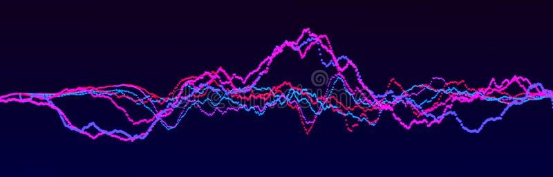 Elemento de la onda ac?stica Equalizador digital azul del extracto Visualizaci?n grande de los datos Flujo ligero din?mico repres libre illustration