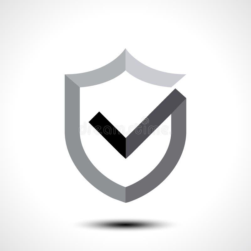 Elemento de la plantilla del diseño del icono del logotipo de la marca de verificación del escudo libre illustration
