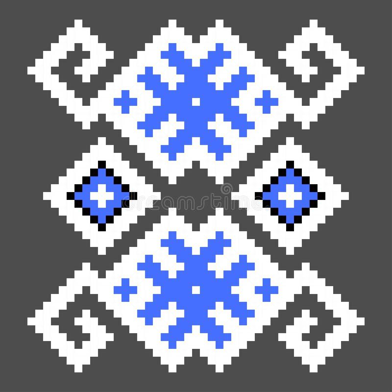 Elemento de la puntada de la cruz de la diversión Modelo azul ucraniano aislado ilustración del vector