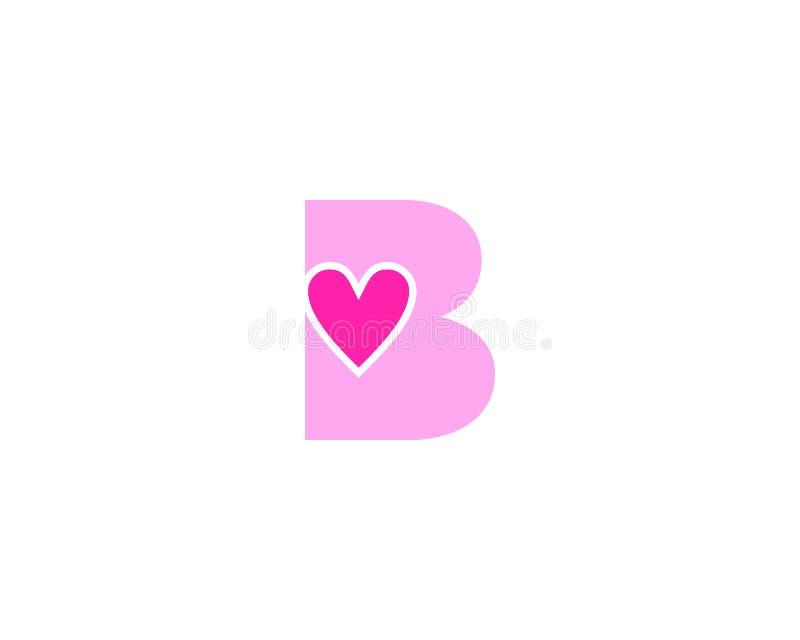 Elemento de Logo Vector Graphic Branding Letter del diseño del amor de la letra inicial B ilustración del vector