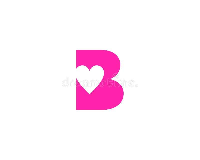Elemento de Logo Vector Graphic Branding Letter del diseño del amor de la letra inicial B libre illustration