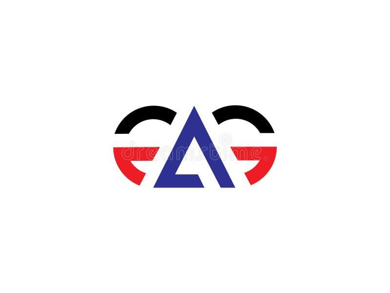Elemento de Logo Vector Graphic Branding Letter del diseño de la letra inicial GA ilustración del vector