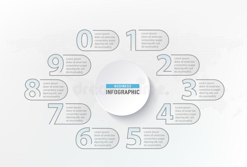 Elemento de los pasos de los números de Infographic Diagrama de carta gráfico del círculo, diseño gráfico de negocio Ilustración  ilustración del vector