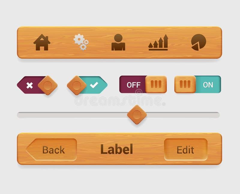 Elemento de madera del interfaz de la tableta del app del móvil del vector, botón stock de ilustración