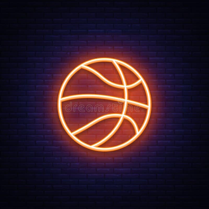 Elemento de néon do projeto do vetor do ícone do basquetebol Néon do símbolo do basquetebol, projeto moderno colorido do elemento ilustração stock