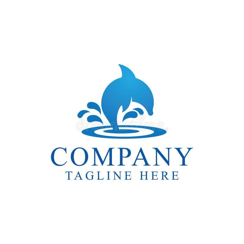 Elemento de salto do projeto do ícone do logotipo do golfinho ilustração stock