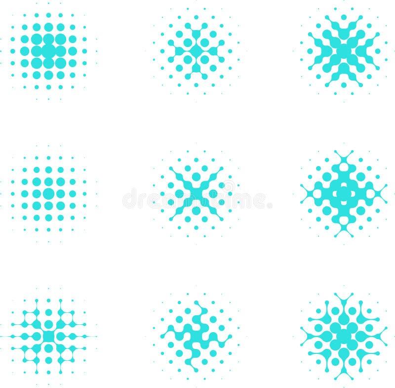 Elemento de semitono de la célula del círculo del diseño. stock de ilustración