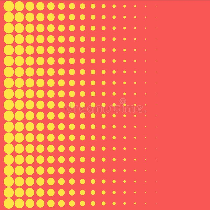 Elemento de semitono del diseño del color de los puntos del amarillo del estilo del arte pop del fondo para las banderas del web, stock de ilustración