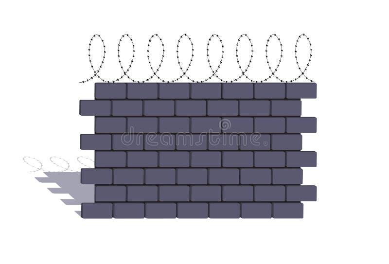 Elemento de una piedra que cerca con un alambre de púas ilustración del vector
