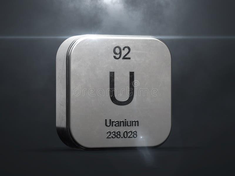 Elemento de uranio de la tabla periódica stock de ilustración