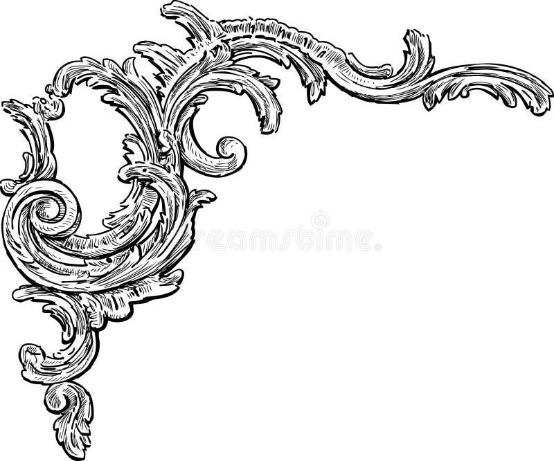 Elemento decorativo barroco stock de ilustración