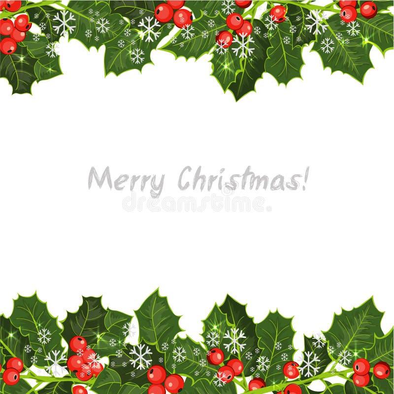 Elemento decorativo con el árbol de acebo ¡Fondo de la feliz Navidad! stock de ilustración