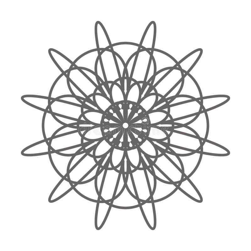 Elemento decorativo da flor do vintage Página do livro para colorir ilustração stock