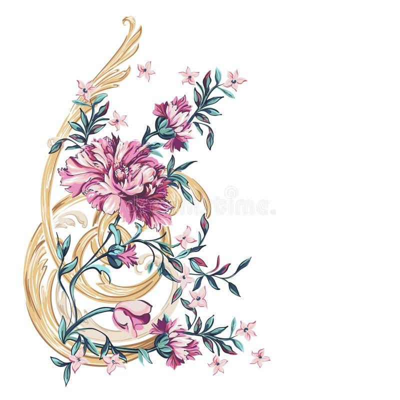 Elemento decorativo das flores com teste padrão do barocco ilustração royalty free