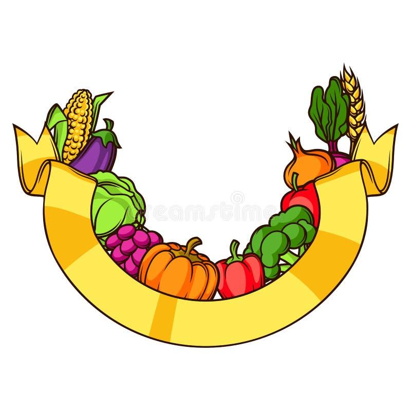 Elemento decorativo de la cosecha Ejemplo del otoño con la cinta, frutas y verduras estacionales stock de ilustración