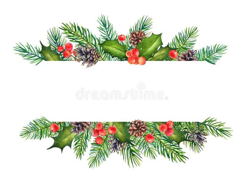 Elemento decorativo di Natale con i rami dell'acquerello di agrifoglio e del pino con spazio per testo illustrazione di stock
