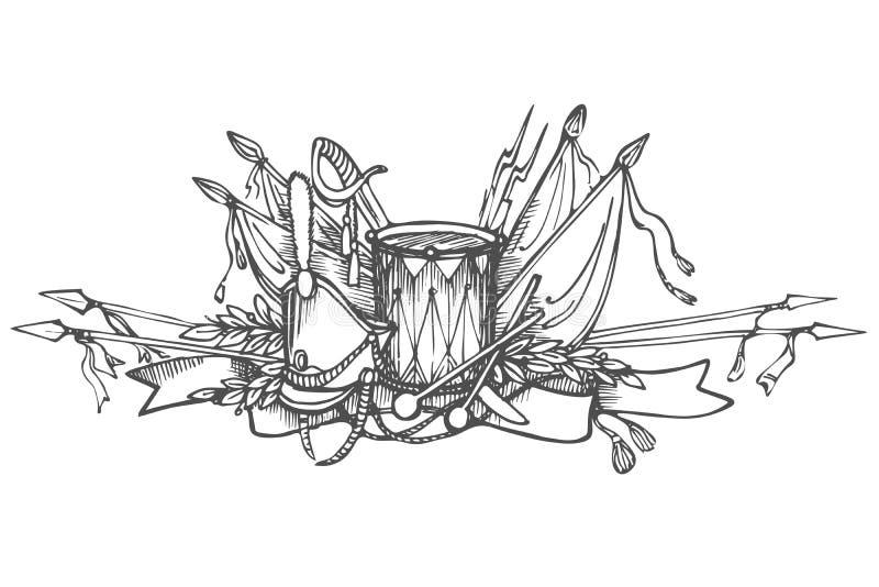 Elemento decorativo disegnato a mano con le armi, le insegne ed i tempi dei tamburi della guerra Russo-francese nel 1912 royalty illustrazione gratis