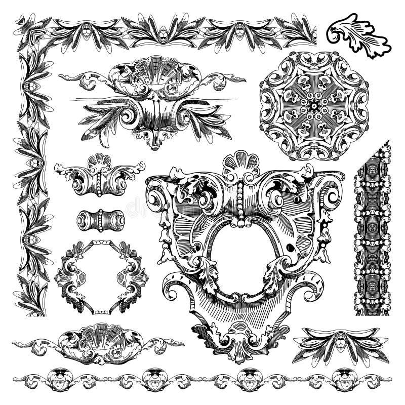 Elemento decorativo do projeto de Lviv histórico ilustração do vetor