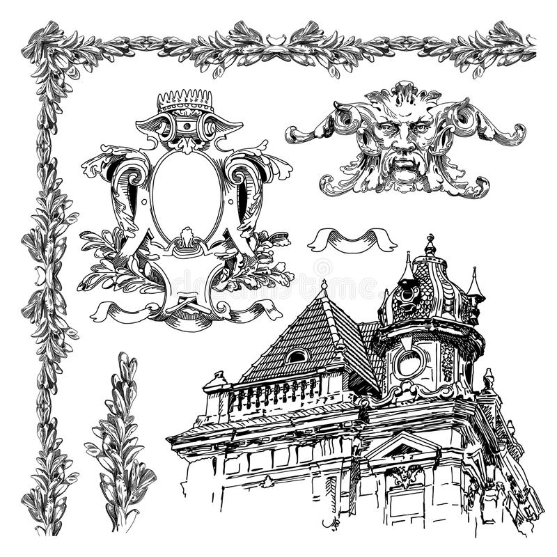Elemento decorativo do projeto de Lviv histórico ilustração royalty free