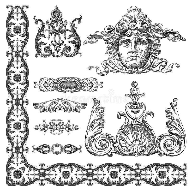 Elemento decorativo do projeto de Lviv histórico ilustração stock