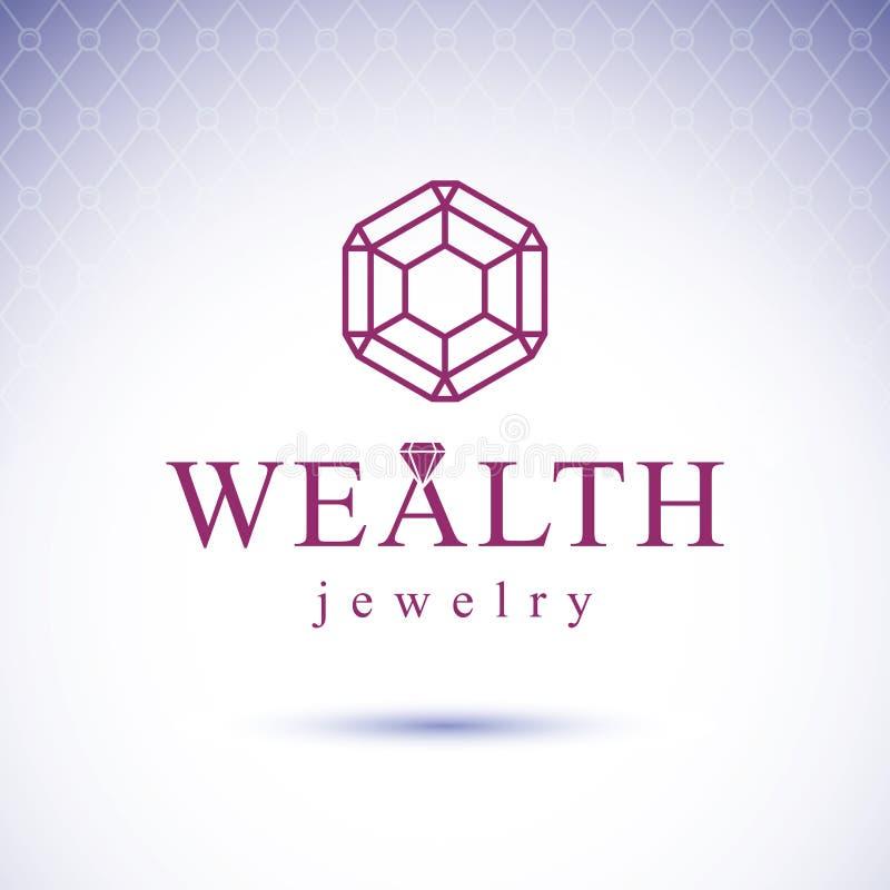 Elemento decorativo lapidado luxo do vetor Em lustroso do sinal do diamante ilustração do vetor