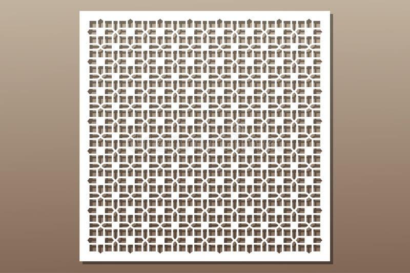 Elemento decorativo para el corte del laser Ornamento geométrico stock de ilustración