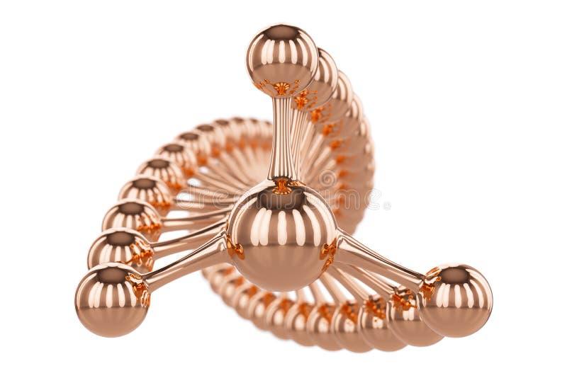 Elemento dei gioielli o atomo dorato astratto della molecola dell'oro isolato su fondo bianco elemento dorato di lusso di logo o  royalty illustrazione gratis