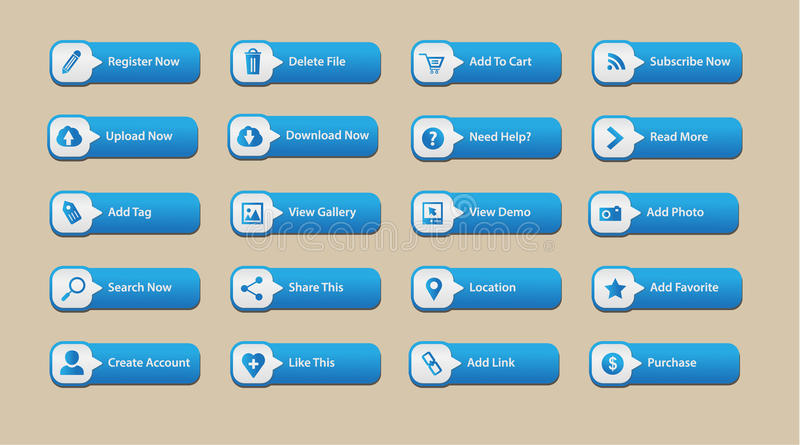 Elemento del botón del web stock de ilustración