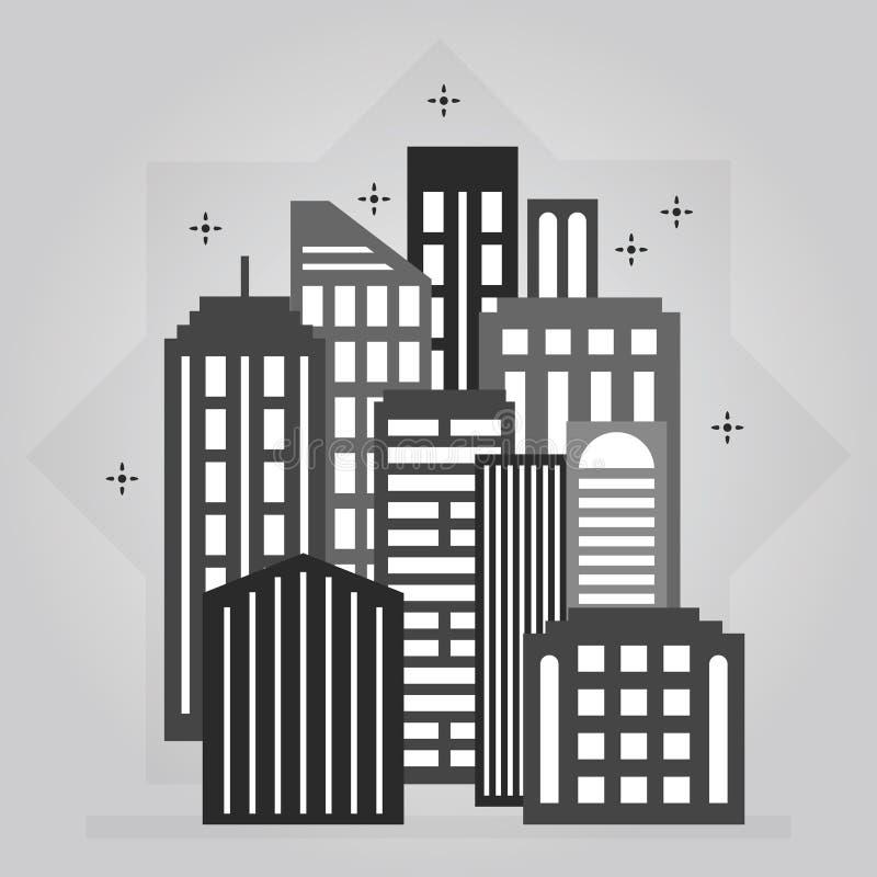 Elemento del centro di progettazione dell'icona dell'orizzonte della città di notte nera e grigia royalty illustrazione gratis