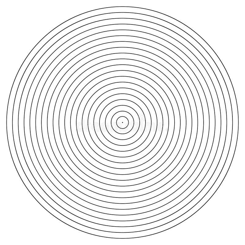 Elemento del cerchio concentrico Anello in bianco e nero di colore Illustrazione astratta di vettore per l'onda sonora, grafico m illustrazione di stock