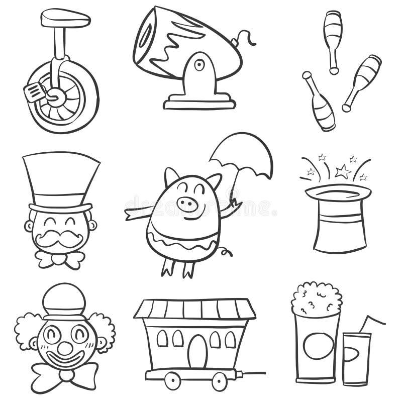 Elemento del circo di scarabocchio vario illustrazione di stock