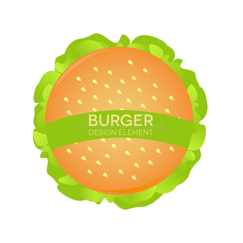 Elemento del diseño de la hamburguesa, alimentos de preparación rápida del logotipo Emparedado en el fondo blanco libre illustration