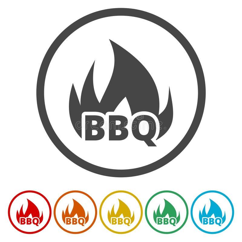 Elemento del diseño de la palabra del partido del Bbq el flamear ilustración del vector